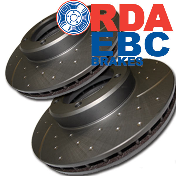 DIMPLD SLOTTED FRONT DISC BRAKE ROTORS+PADS for Toyota Prado 150 Series RDA8097D